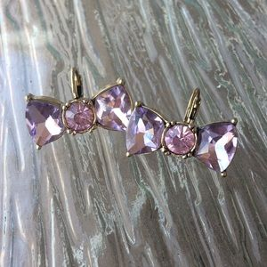 🎀 Betsey Johnson pink crystal bow earrings 🎀
